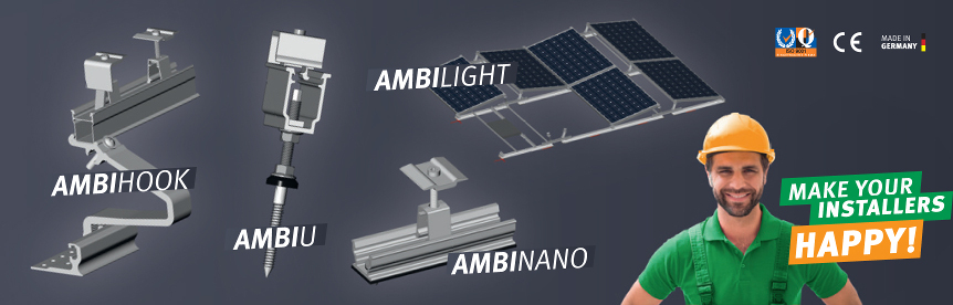 AmbiVolt solar mounting systems for flat and pitched roofs